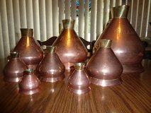 Rare Vintage W.T. Avery London English Copper Haystack Measuring Pitcher Set in Plainfield, Illinois