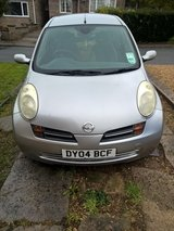 Silver Nissan Micra 2004 in Lakenheath, UK