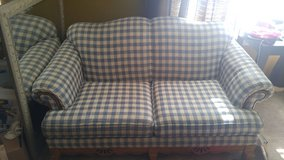 Reduced to****** $75.00 Reduced from 150.00 BLUE PLAID LOVESEAT  by BASSIETT in Joliet, Illinois