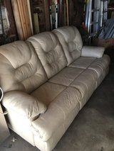 White Leather Couch with Pullout Bed in Naperville, Illinois