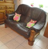 REDUCED - leather couch set with heavy oak frame (3 pcs) in Ramstein, Germany