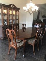 Dining Table with Matching Lighted China Cabinet in Conroe, Texas