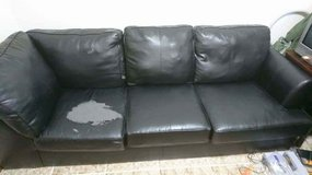 leather L shape couch. in Okinawa, Japan