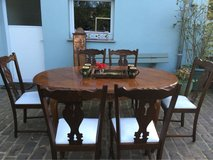Beautiful antique solid wood dining table 6 chairs from France in Ramstein, Germany