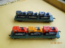 Model train cars: two HO scale TYCO Skid Flat, each with 3 tractors. Western Maryland in Kingwood, Texas
