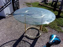 Glass Top Table With Gold Base in Fort Riley, Kansas