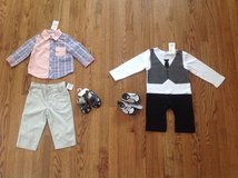 New with tags BABY BOY CLOTHES LOT, SETS, OUTFITS, SHOES AND SANDALS, SIZE 12 MONTHS in Bartlett, Illinois