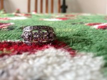Pretty ring size 7 with pink flowers fashion ring silver in color in Fort Riley, Kansas