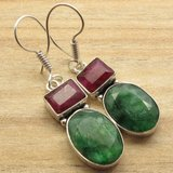 New - Ruby and Emerald Quartz Silver Earrings in Alamogordo, New Mexico