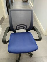 blue black office chair on wheels in Naperville, Illinois