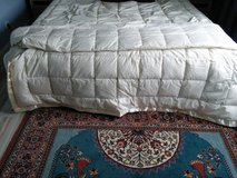 Queen size feather comforter with satin trim in Spangdahlem, Germany