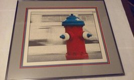 "Fire Hydrant Picture Framed Red White Blue Large 22"" x 19-1/2"" in Elgin, Illinois"