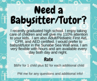 Need a Babysitter/Tutor? in Okinawa, Japan