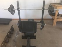Workout Bench w/curl bar and 300lbs of weights in Lawton, Oklahoma