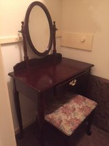 Cherry Wood Queen Anne Vanity Table & Bench Set in Kingwood, Texas