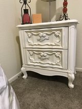 Painted white end table in Fort Irwin, California