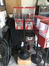 red metal candy vending machines with stand in Cherry Point, North Carolina
