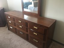 Full sized bed frame, head board, 2 dressers (1 vertical, 1 horizontal with mirror),  and nights... in Lockport, Illinois