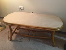 Rattan coffee table and two rattan/glass end tables in Lockport, Illinois