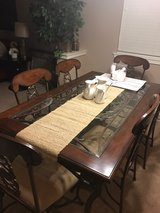 Wrought Iron Glass Inset Dining Table w/6 Chairs in Tacoma, Washington