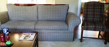 FREE Couch Contemporary Gray Wheat Lines and Striped Chair in Glendale Heights, Illinois