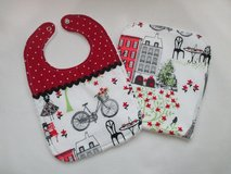 Baby Bib / Burp Cloth Set - Red Summer in Paris in Kingwood, Texas