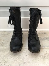 Women's Lace Up + Zipper Black Leather Mid-Calf Boots Size 7 in St. Charles, Illinois