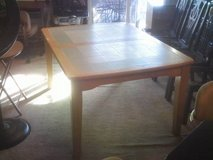 TILE W/NATURAL WOOD & COLOR TRIM TABLE in Hampton, Virginia