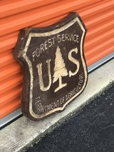 Salvaged Forest Service Wood Sign in Cherry Point, North Carolina