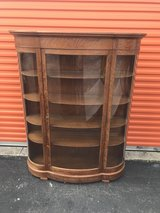 Antique Qtr Oak Serpentine China Cabinet in Cherry Point, North Carolina