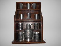 Pewter Goblet Sets with Matching Wood Shelf – Made in Germany 1980 in Camp Lejeune, North Carolina