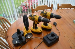 2 Dewalt DC725 18v rechargeable drills 5 batteries, battery charger and flexible light all in go... in Lakenheath, UK