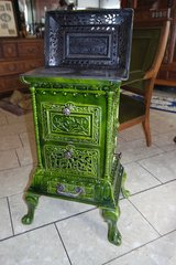 elegant Art Nouveau wood burning furnace with enamel in Stuttgart, GE