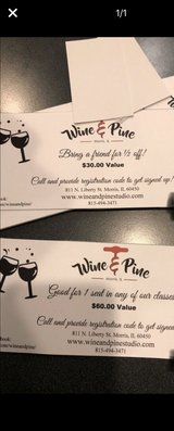 wine and pine gift certificate in Plainfield, Illinois