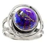 New - Purple Copper Turquoise 925 Sterling Silver Ring - Size 8 1/2 in Alamogordo, New Mexico