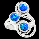 New - Blue Fire Opal Sterling Silver Ring - Size 6 in Alamogordo, New Mexico