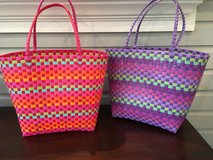 2 Plastic Woven Tote Bags - Pink and Purple in Glendale Heights, Illinois