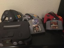 Nintendo 64 with games and three controllers in Spring, Texas