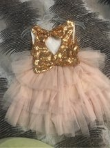 pink & gold girl bow dress in Palatine, Illinois