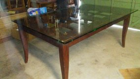 solid wood table with glass top in 29 Palms, California