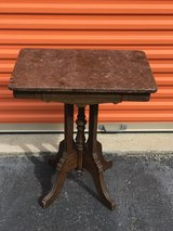 Walnut Victorian Marble Side Table in Camp Lejeune, North Carolina