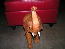 Leather Elephant with trunk pointing upward which means good luck in Yucca Valley, California