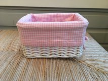2 Pottery Barn Kids White Wicker Sabrina Baskets with Pink Liners in Plainfield, Illinois