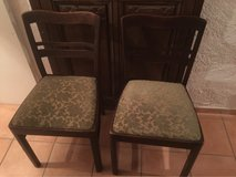 2 Dark Wood Chairs with green pattern cloth in Spangdahlem, Germany