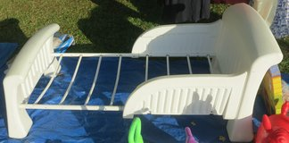 WHITE TODDLER BED WITH SIDES & A MATTRESS in Cherry Point, North Carolina