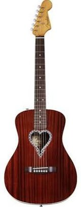 Fender Alkaline Trio Malibu Acoustic Guitar, Mahogany Top, Back and Sides, Heart Shaped Rosette ... in Leesville, Louisiana