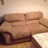 One suede look two seater couch, never been used, like new. Original price 500 euros. in Baumholder, GE