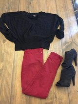 Maroon jeans n heels for sale in Leesville, Louisiana