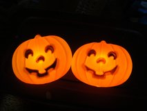 Two Indoor Outdoor Plastic Blow Mold PUMPKIN 10 x 8 x 3 w/cords and bulbs in Orland Park, Illinois
