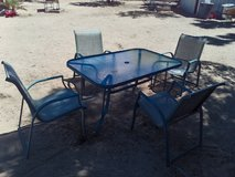 Patio Table and 4 Chairs Metal/Glass in Yucca Valley, California